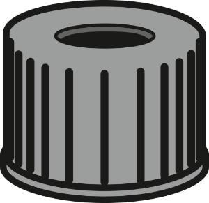 Screw closure, N 10, PP, black, center hole, no liner