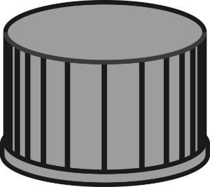 Screw closure, N 13, PP, black, closed top, Red Rubber/FEP colorless, 1.5 mm