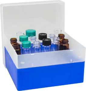 Vial container, maximum diameter 18,5 mm, 36 position with lid and divider, stackable