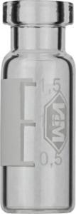 Crimp neck vial, N 11, 11,6×32,0 mm, 1,5 ml, label, flat bottom, clear