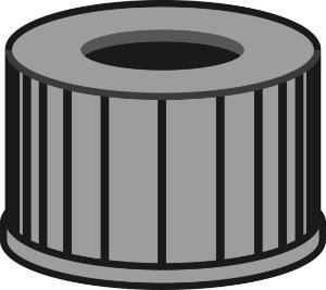 Screw closure, N 13, PP, black, center hole, no liner