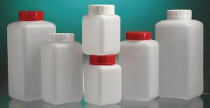 Bottles, wide neck, square, with screw cap